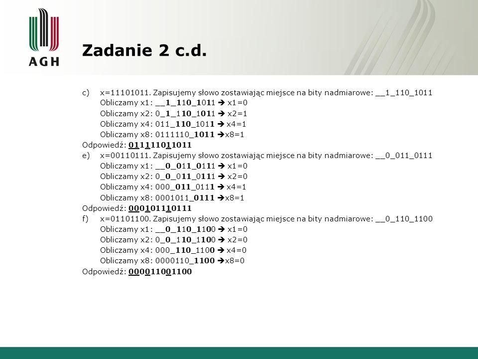 Zadanie 2 c.d.