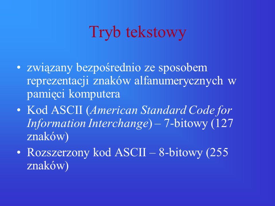 Tryb tekstowy związany bezpośrednio ze sposobem reprezentacji znaków alfanumerycznych w pamięci komputera.