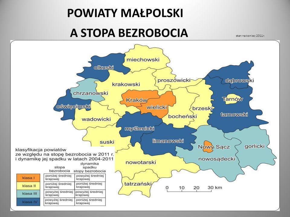 POWIATY MAŁPOLSKI A STOPA BEZROBOCIA stan na koniec 2011r.