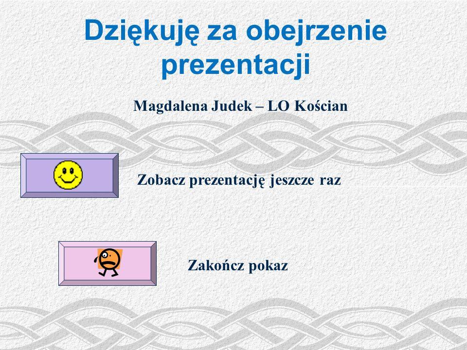 Dziękuję za obejrzenie prezentacji Magdalena Judek – LO Kościan
