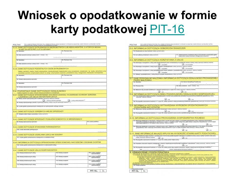 Wniosek o opodatkowanie w formie karty podatkowej PIT-16