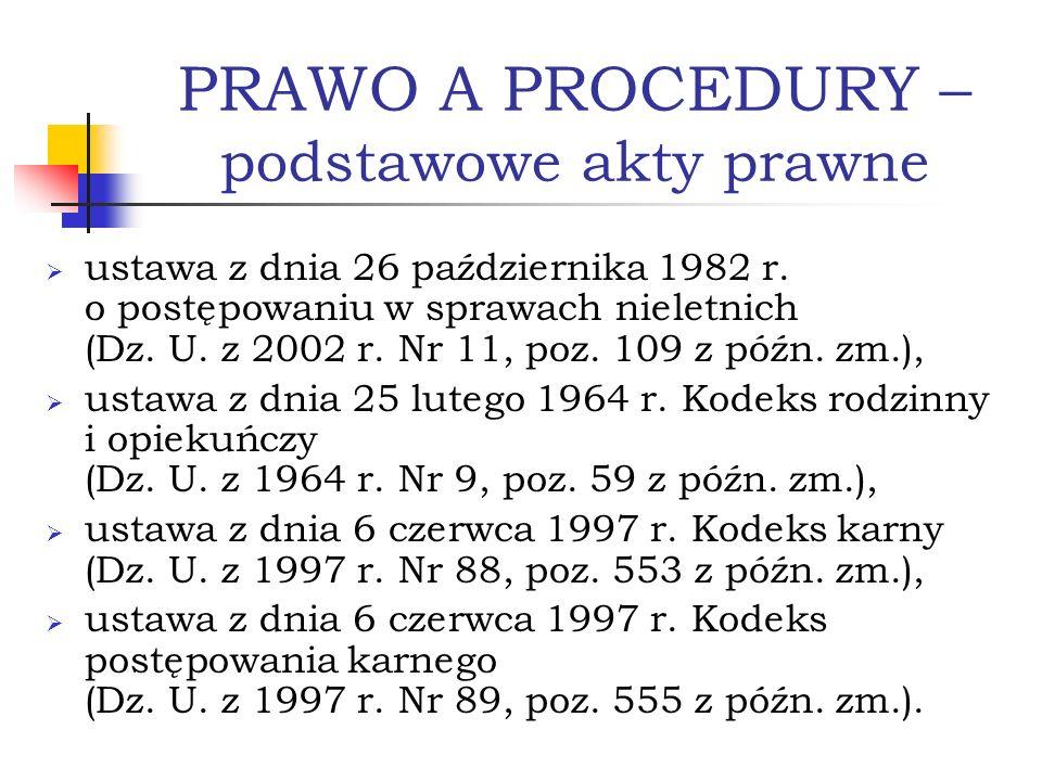 PRAWO A PROCEDURY – podstawowe akty prawne