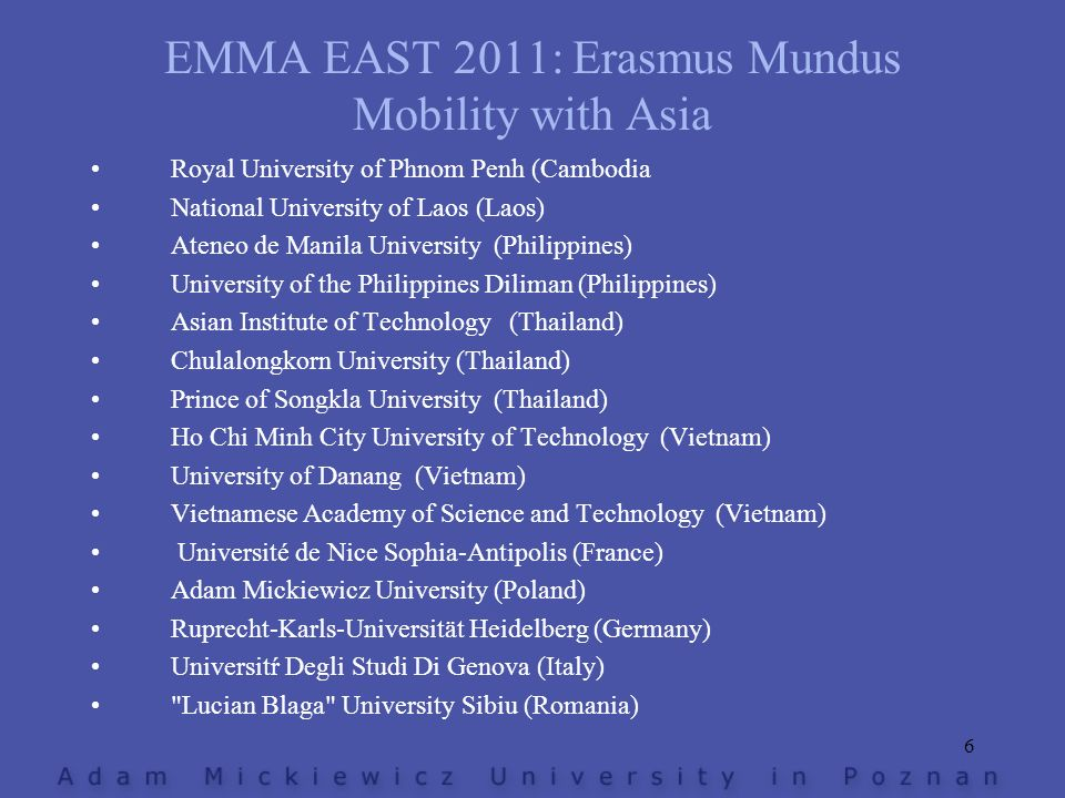 EMMA EAST 2011: Erasmus Mundus Mobility with Asia