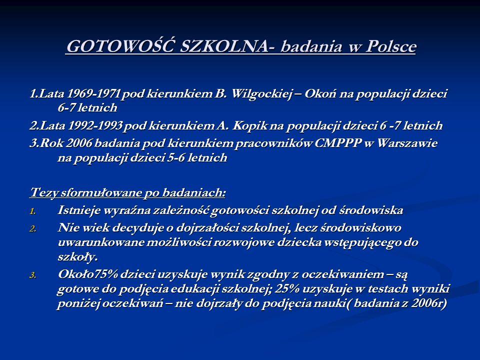 GOTOWOŚĆ SZKOLNA- badania w Polsce
