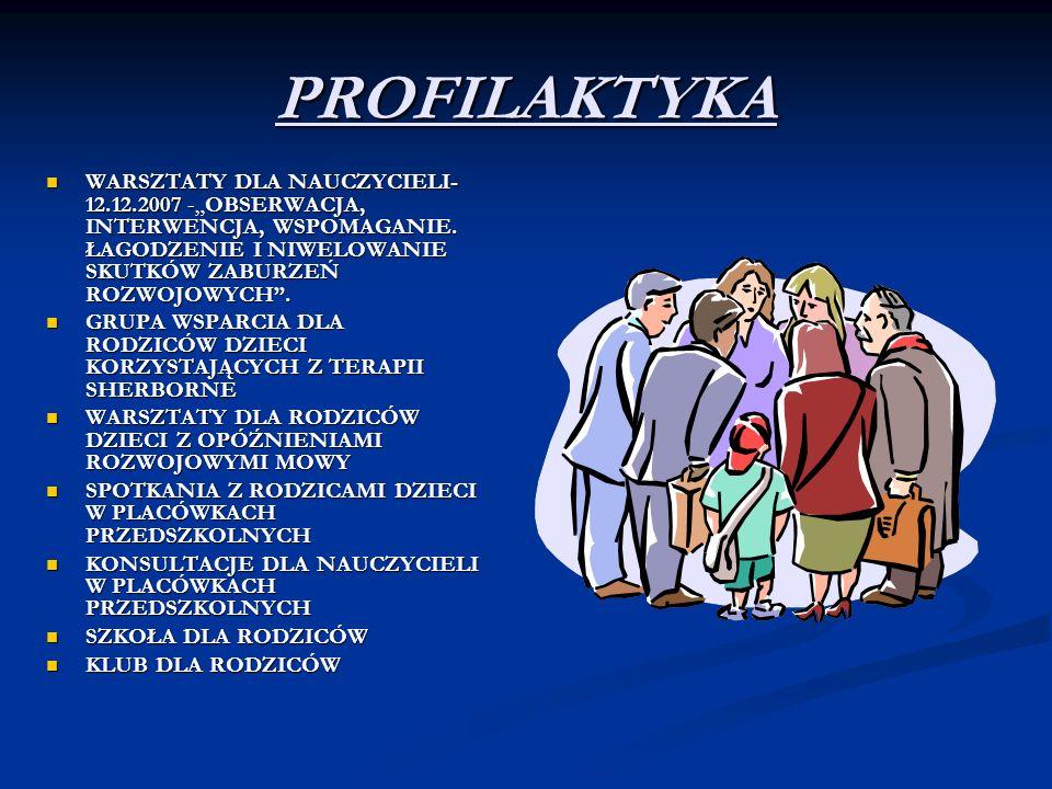 """PROFILAKTYKA WARSZTATY DLA NAUCZYCIELI- 12.12.2007 -""""OBSERWACJA, INTERWENCJA, WSPOMAGANIE. ŁAGODZENIE I NIWELOWANIE SKUTKÓW ZABURZEŃ ROZWOJOWYCH ."""
