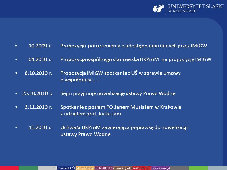 10.2009 r. Propozycja porozumienia o udostępnianiu danych przez IMiGW
