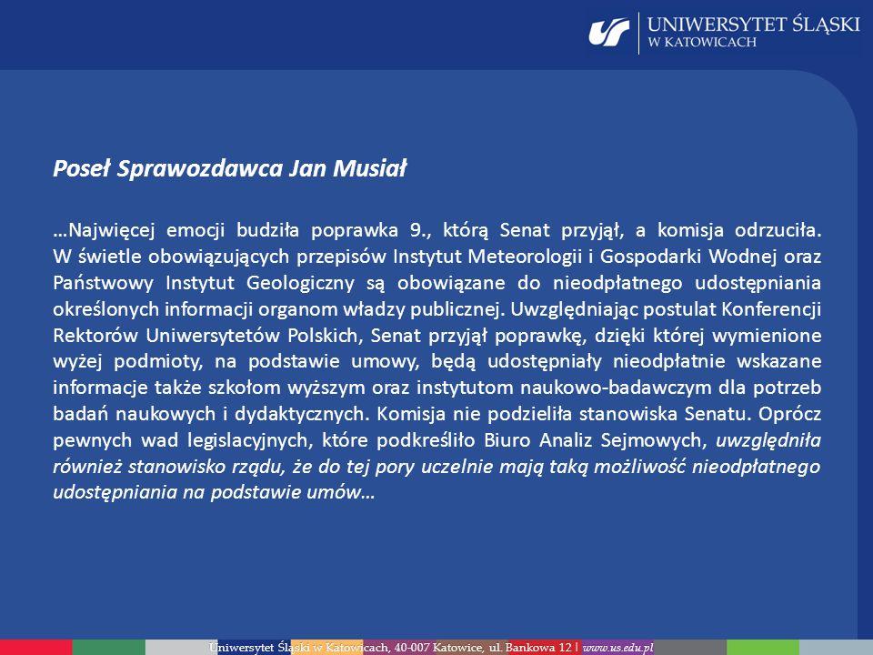Poseł Sprawozdawca Jan Musiał