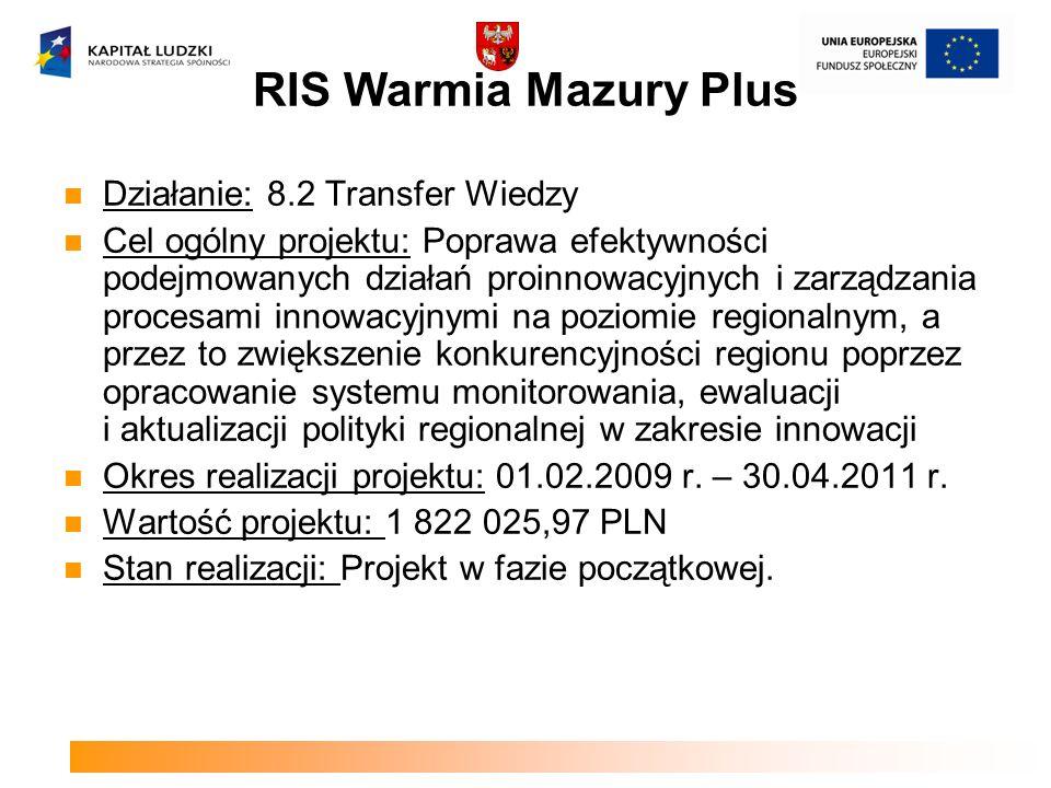 RIS Warmia Mazury Plus Działanie: 8.2 Transfer Wiedzy