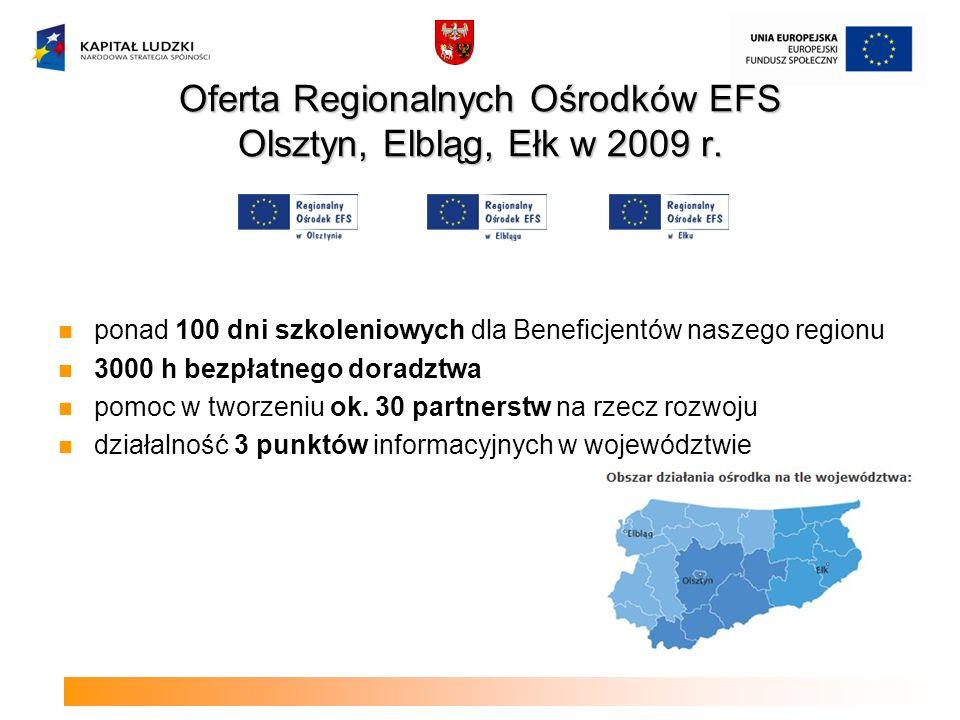 Oferta Regionalnych Ośrodków EFS Olsztyn, Elbląg, Ełk w 2009 r.