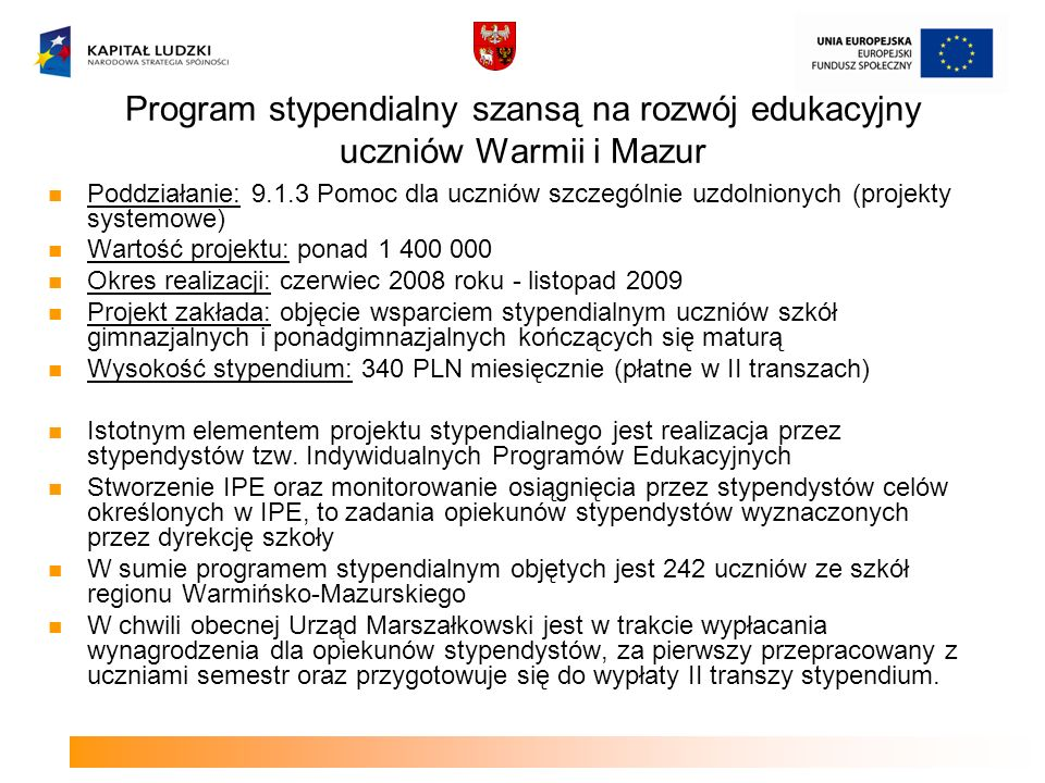 Program stypendialny szansą na rozwój edukacyjny uczniów Warmii i Mazur