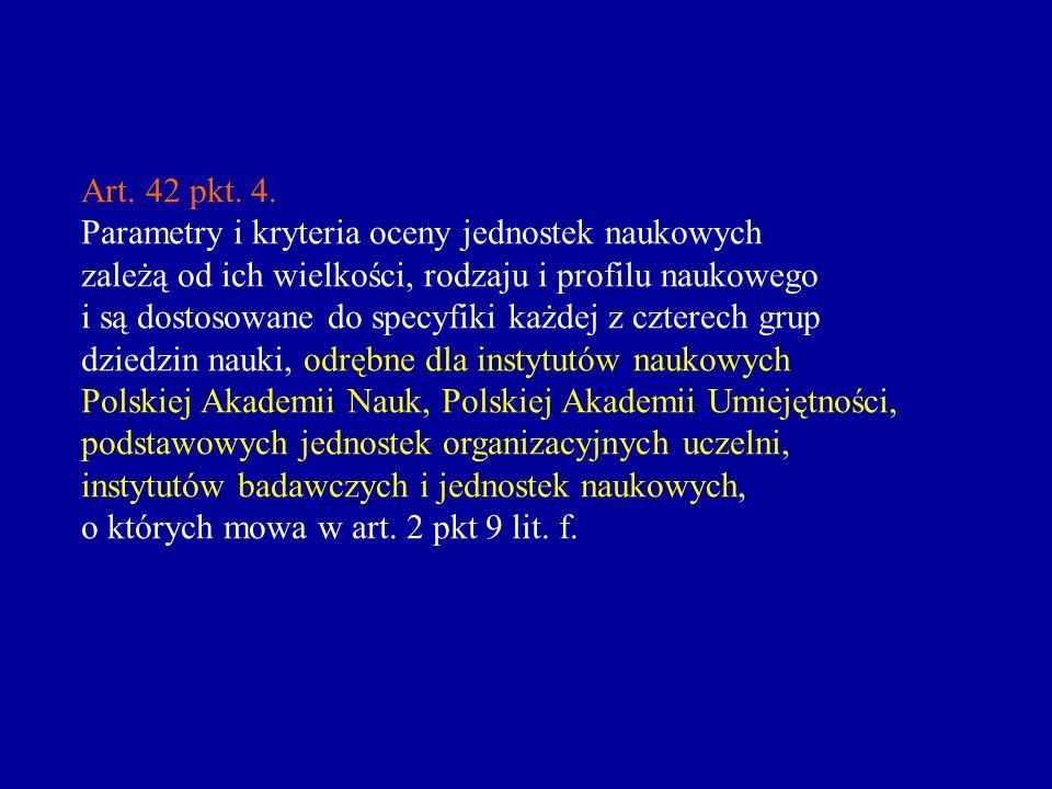 Art. 42 pkt. 4. Parametry i kryteria oceny jednostek naukowych. zależą od ich wielkości, rodzaju i profilu naukowego.