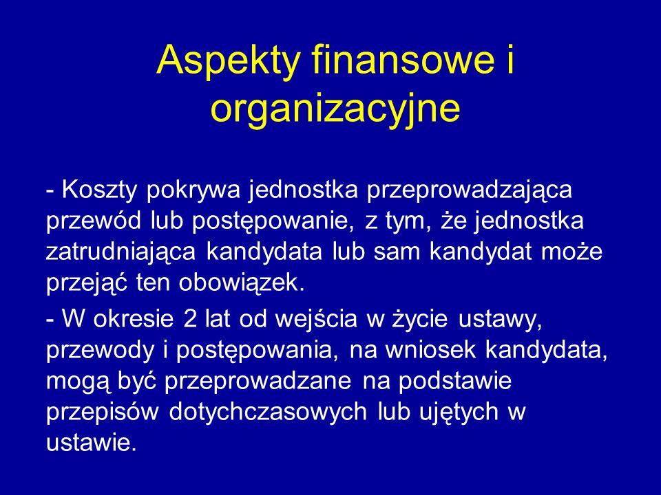 Aspekty finansowe i organizacyjne