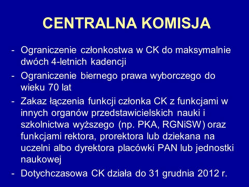 CENTRALNA KOMISJA Ograniczenie członkostwa w CK do maksymalnie dwóch 4-letnich kadencji. Ograniczenie biernego prawa wyborczego do wieku 70 lat.