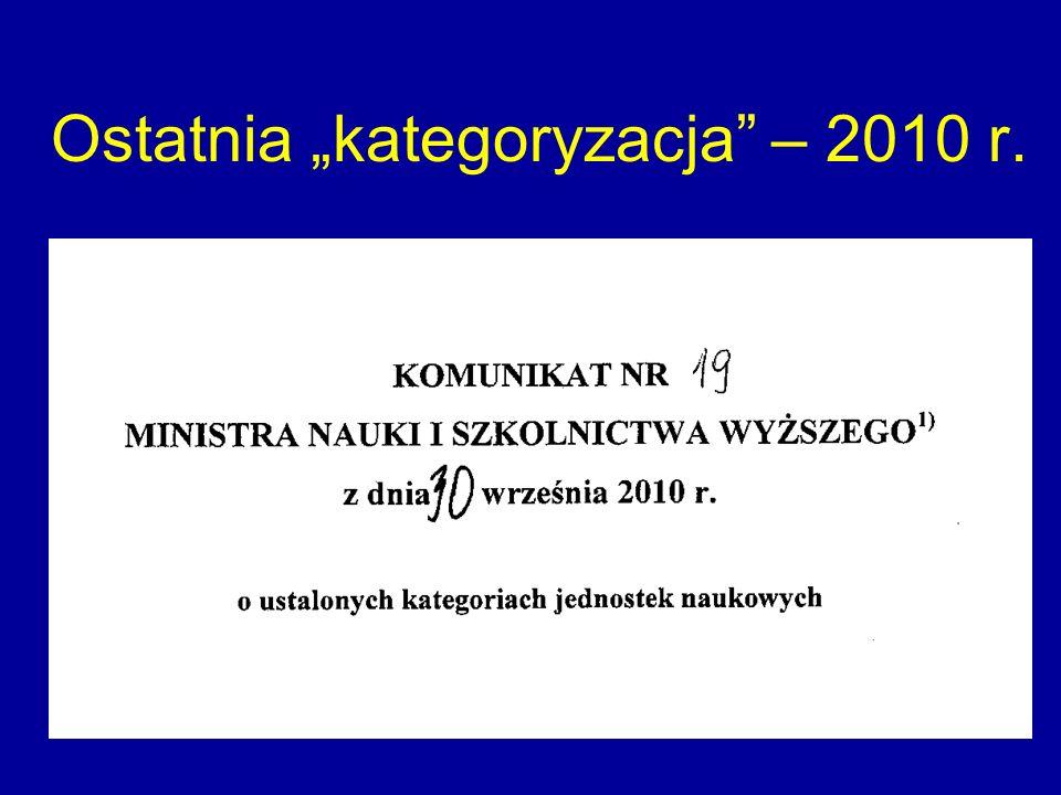 """Ostatnia """"kategoryzacja – 2010 r."""