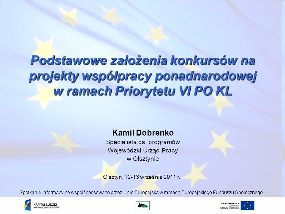 Podstawowe założenia konkursów na projekty współpracy ponadnarodowej w ramach Priorytetu VI PO KL