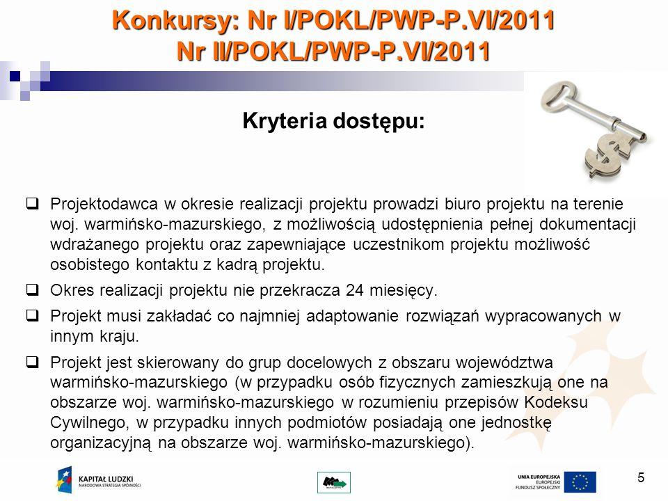 Konkursy: Nr I/POKL/PWP-P.VI/2011 Nr II/POKL/PWP-P.VI/2011