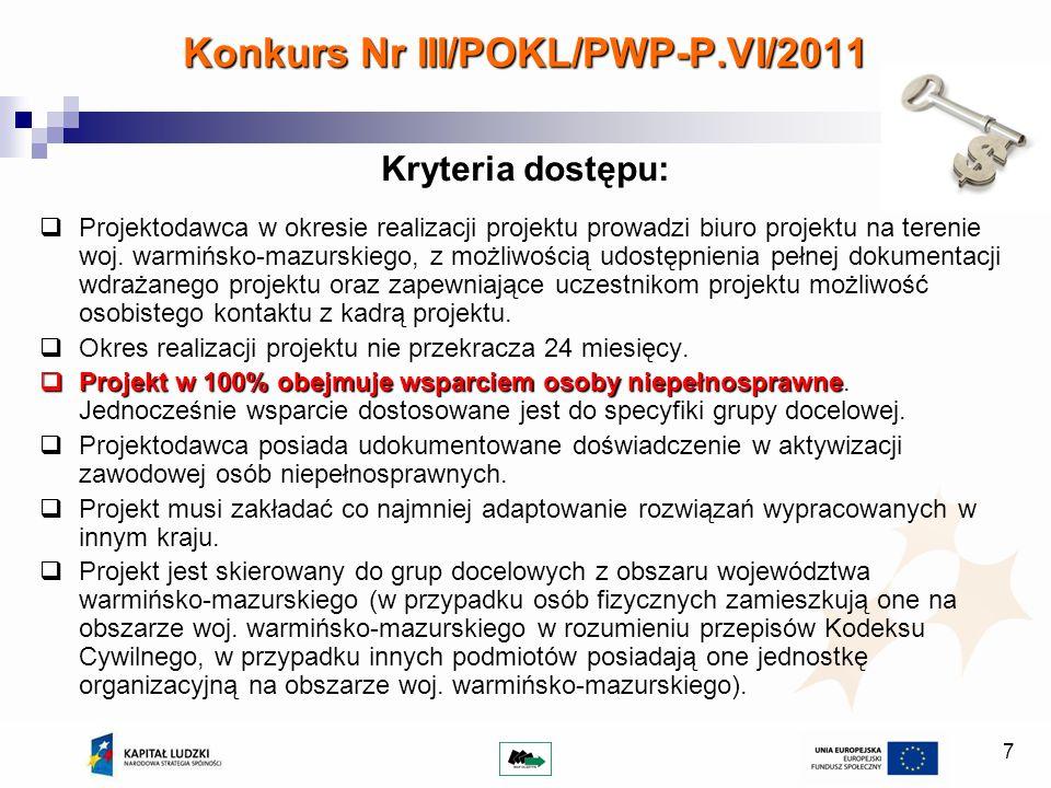 Konkurs Nr III/POKL/PWP-P.VI/2011