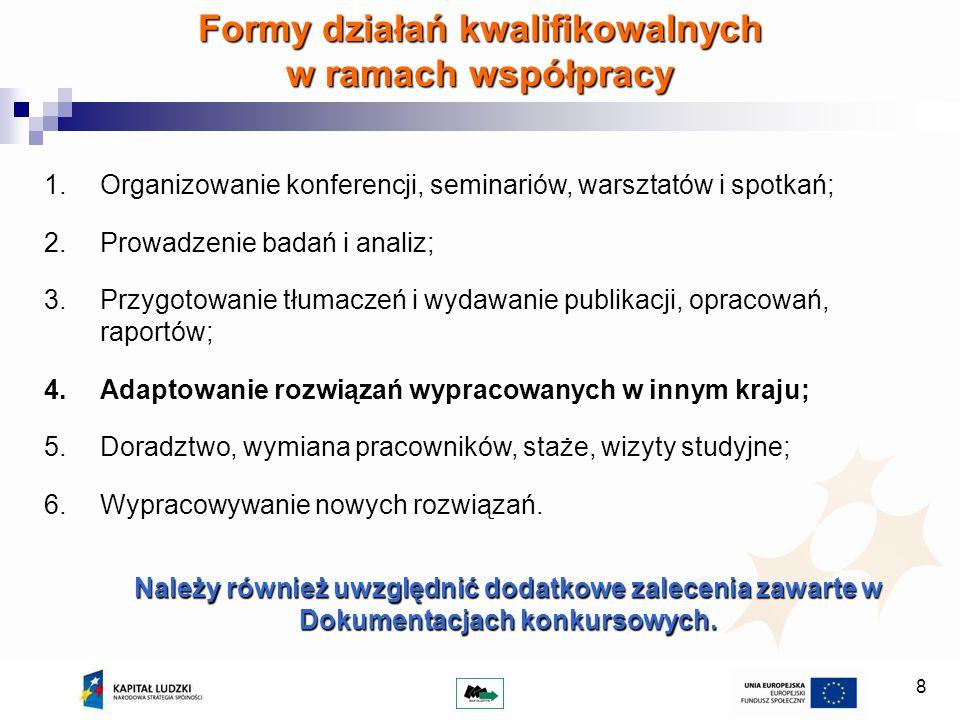 Formy działań kwalifikowalnych w ramach współpracy