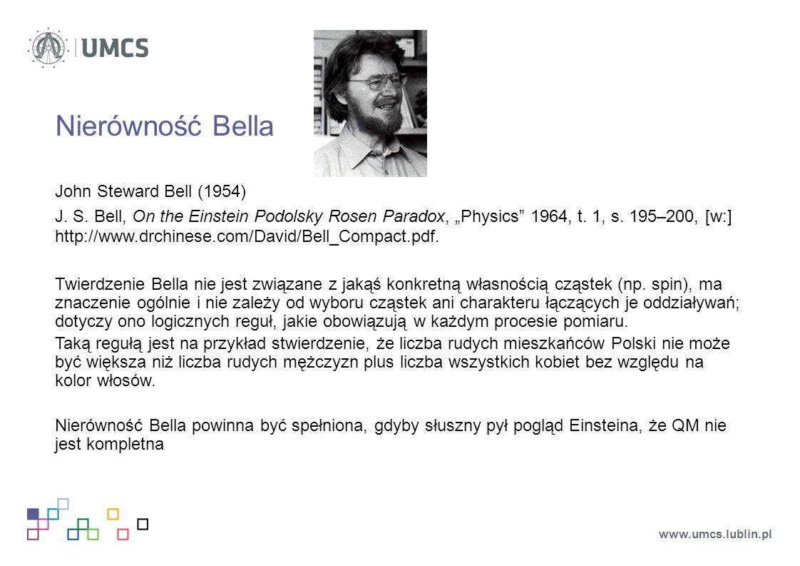 Nierówność Bella John Steward Bell (1954)
