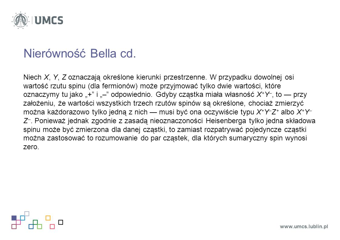 Nierówność Bella cd.