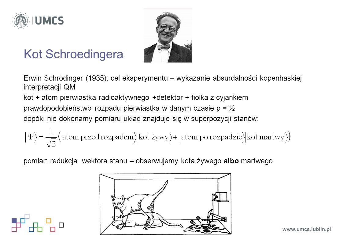Kot Schroedingera Erwin Schrödinger (1935): cel eksperymentu – wykazanie absurdalności kopenhaskiej interpretacji QM.