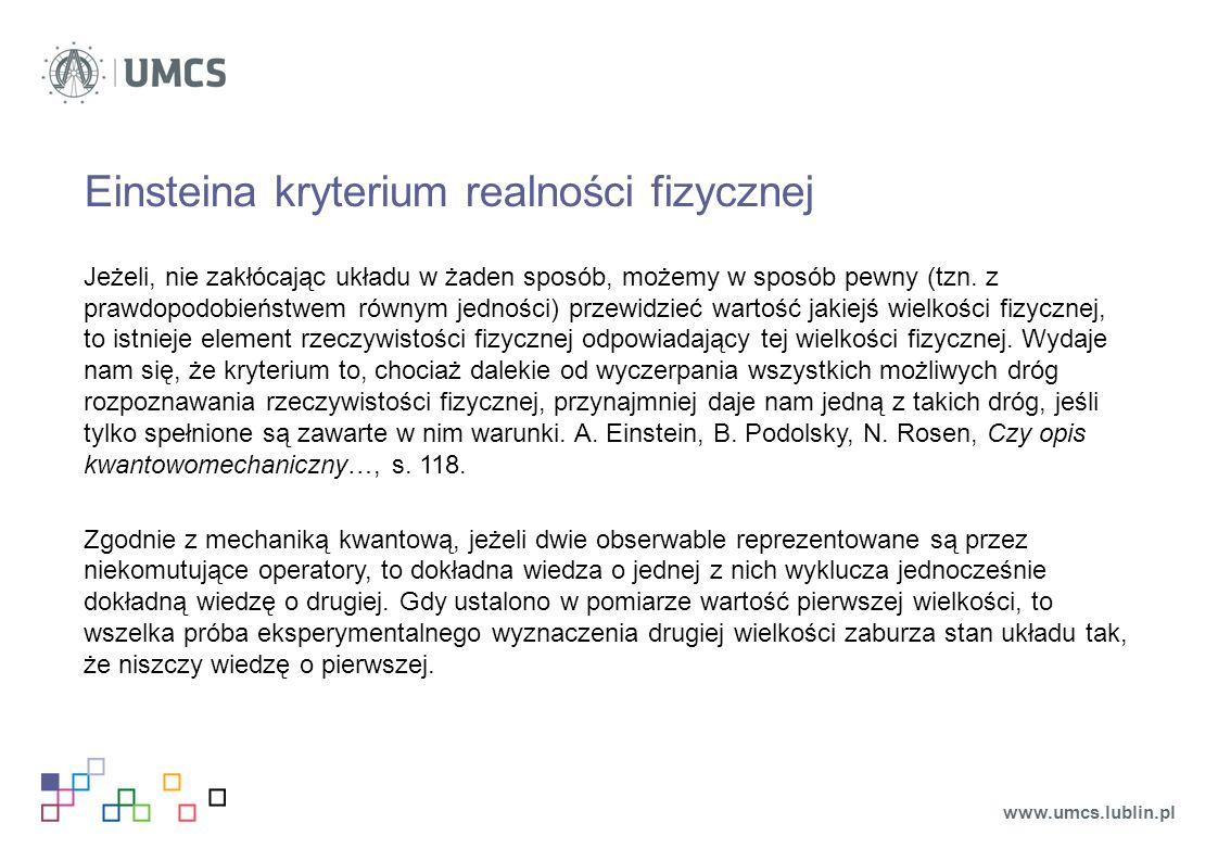 Einsteina kryterium realności fizycznej