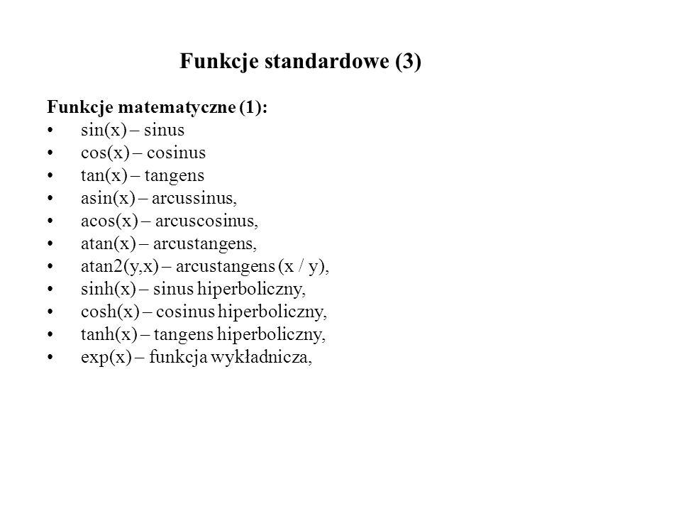 Funkcje standardowe (3)