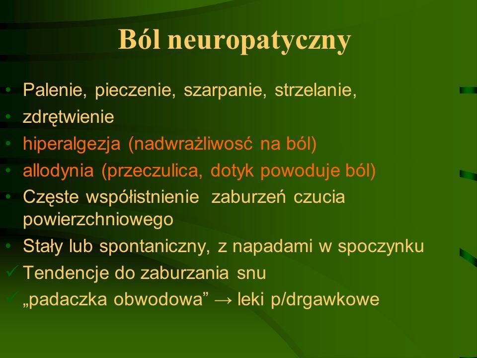 Ból neuropatyczny Palenie, pieczenie, szarpanie, strzelanie,