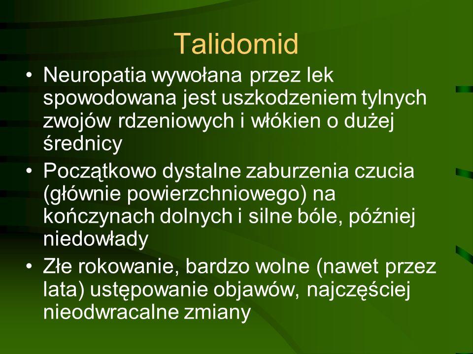Talidomid Neuropatia wywołana przez lek spowodowana jest uszkodzeniem tylnych zwojów rdzeniowych i włókien o dużej średnicy.