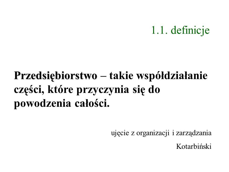 1.1. definicje Przedsiębiorstwo – takie współdziałanie części, które przyczynia się do powodzenia całości.