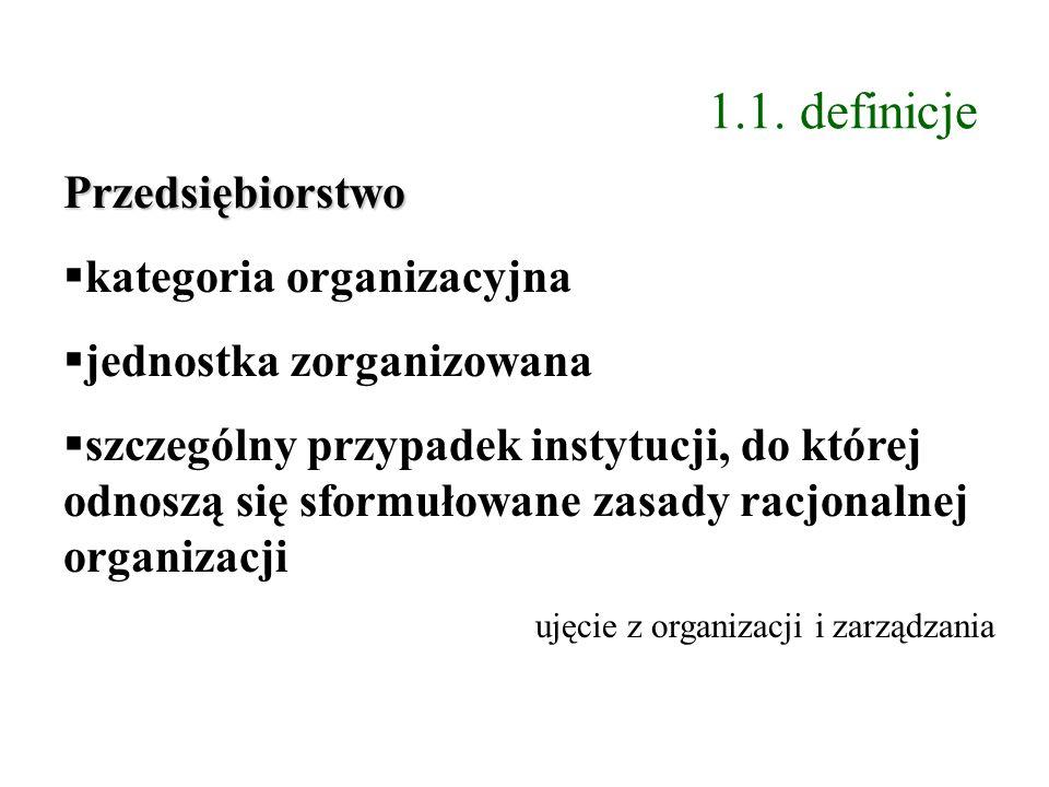 1.1. definicje Przedsiębiorstwo kategoria organizacyjna