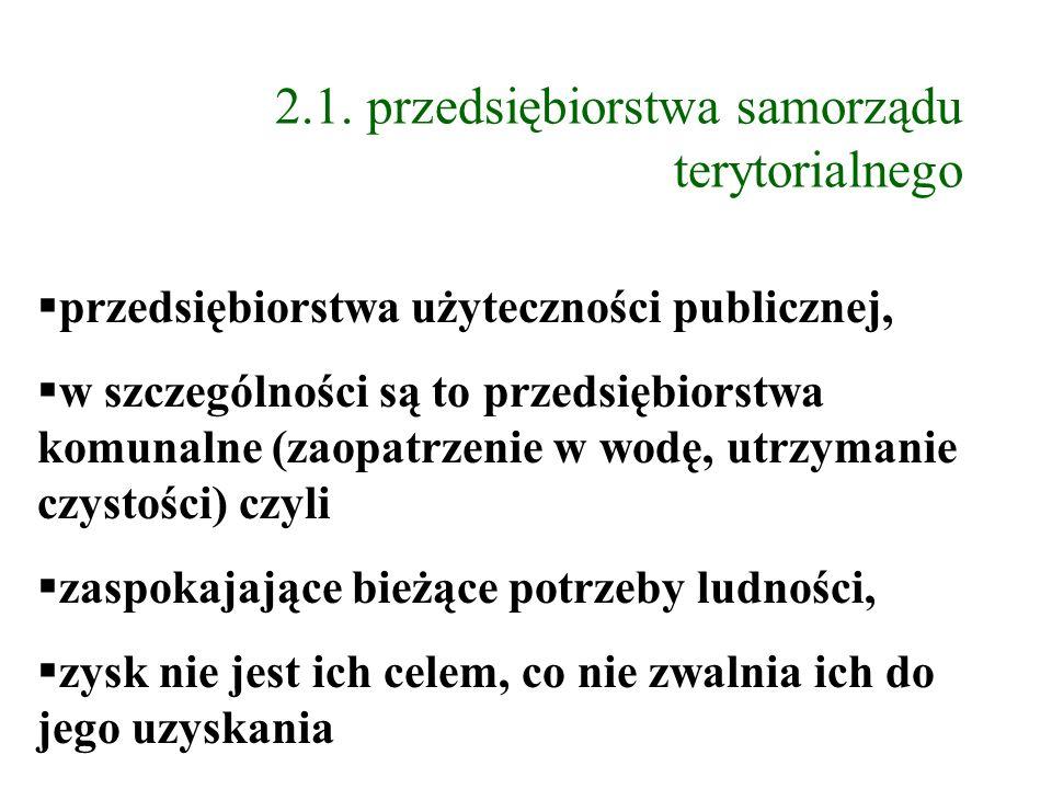 2.1. przedsiębiorstwa samorządu terytorialnego