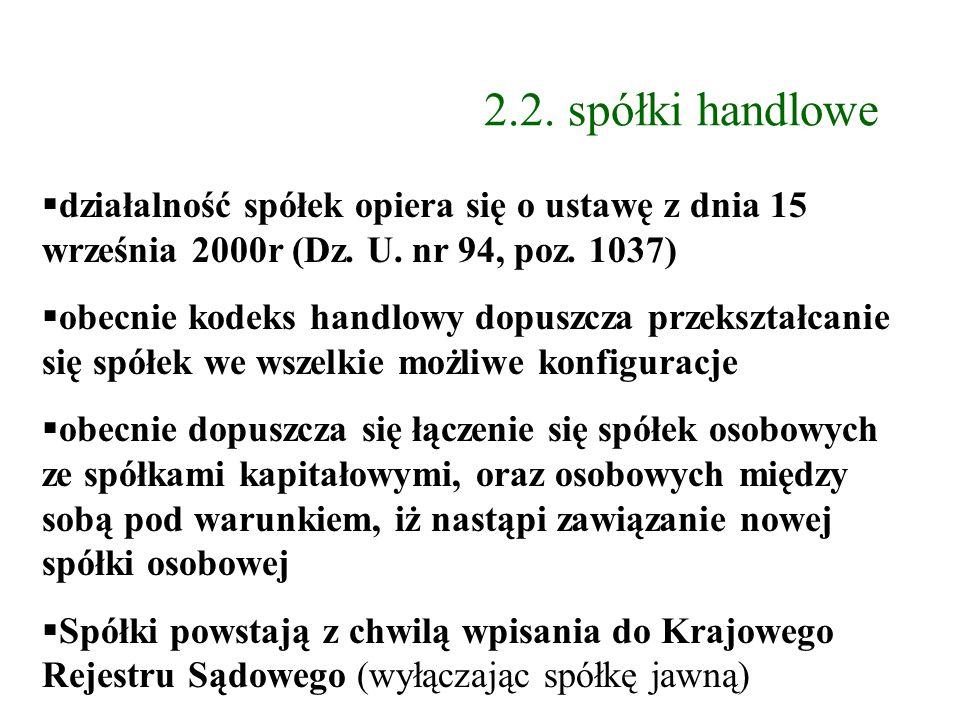 2.2. spółki handlowe działalność spółek opiera się o ustawę z dnia 15 września 2000r (Dz. U. nr 94, poz. 1037)