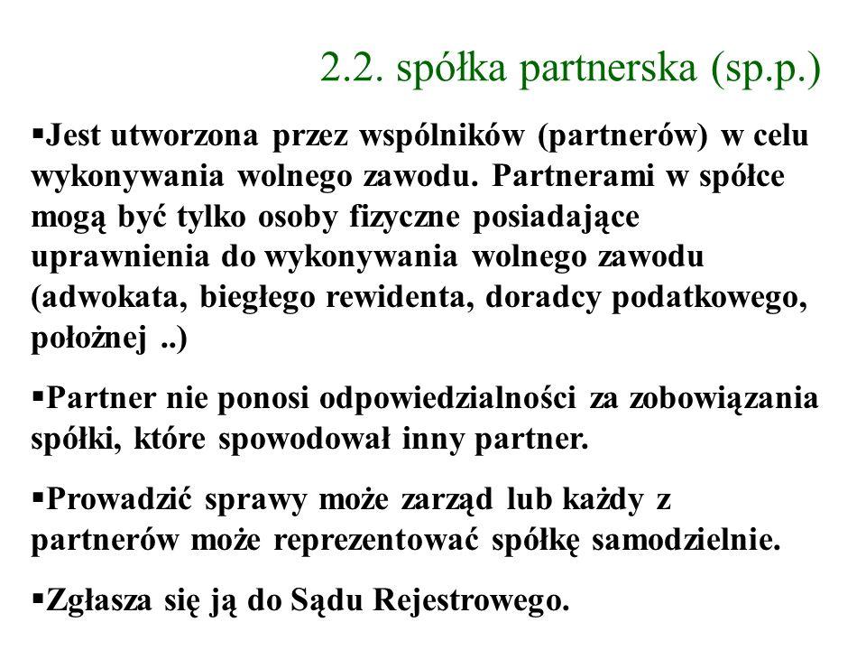 2.2. spółka partnerska (sp.p.)