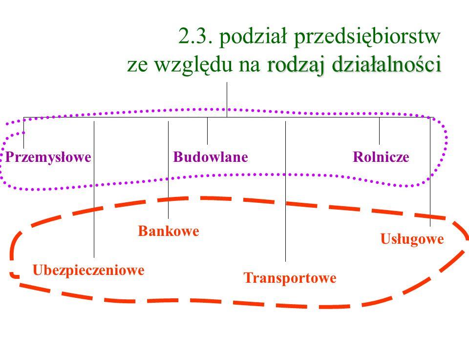 2.3. podział przedsiębiorstw ze względu na rodzaj działalności