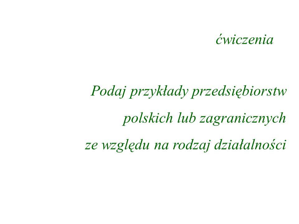 ćwiczenia Podaj przykłady przedsiębiorstw. polskich lub zagranicznych.