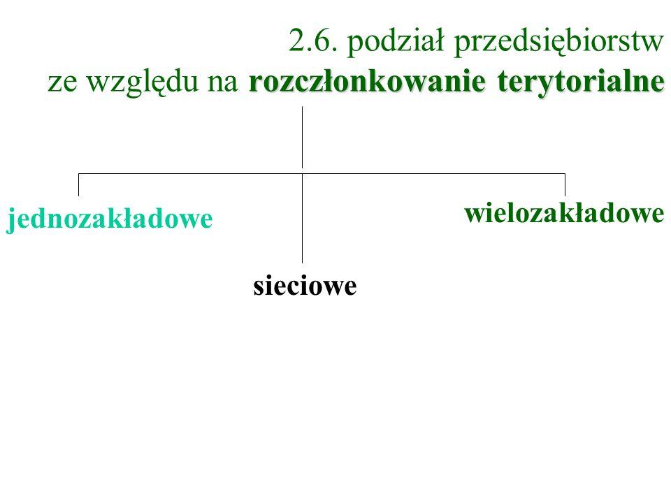 2.6. podział przedsiębiorstw ze względu na rozczłonkowanie terytorialne