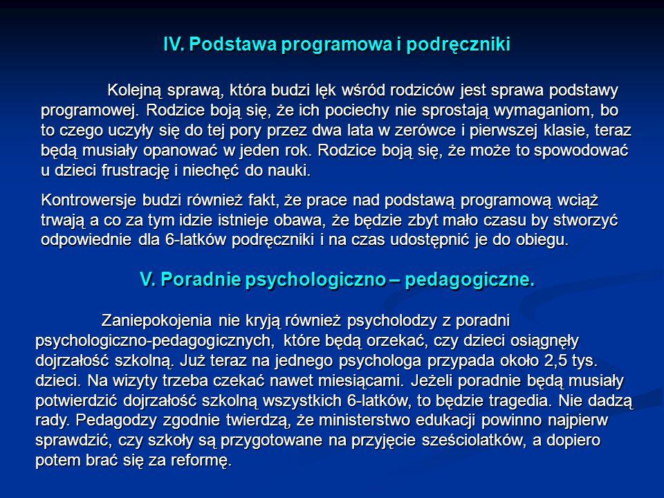 IV. Podstawa programowa i podręczniki