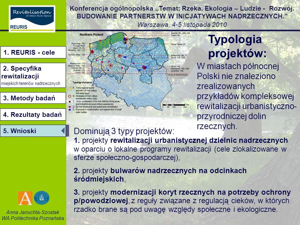 Typologia projektów:1. REURIS - cele. 2. Specyfika rewitalizacji. miejskich terenów nadrzecznych.
