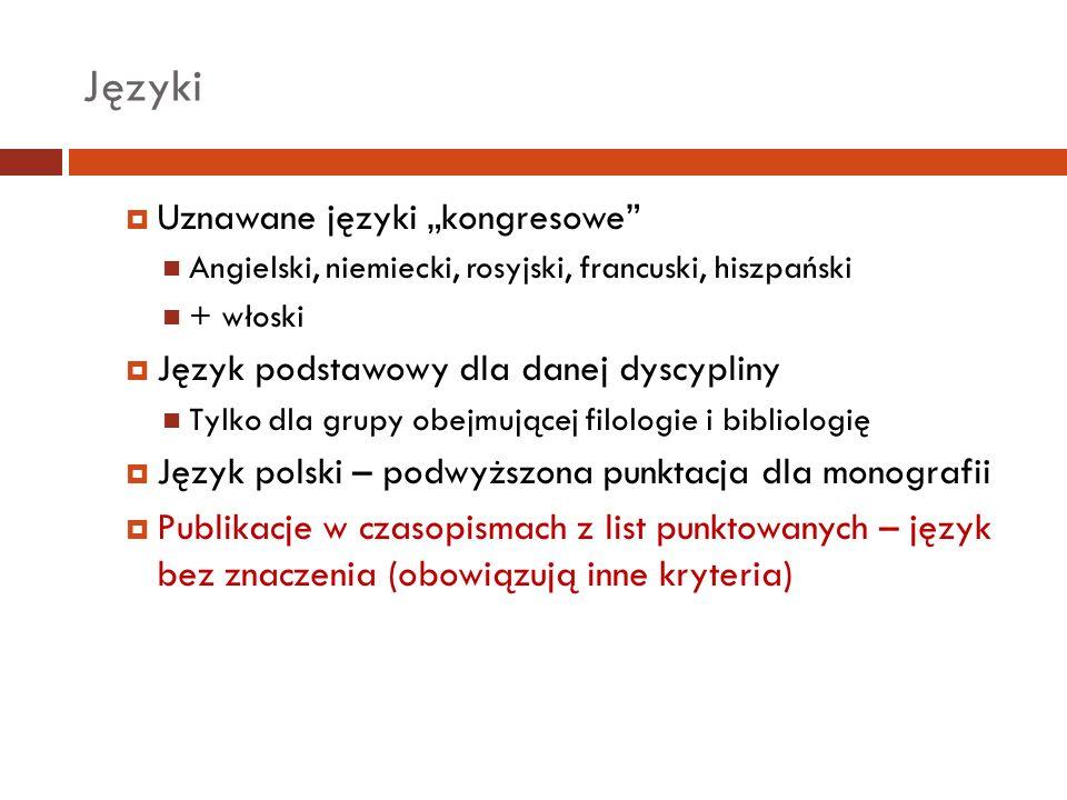 """Języki Uznawane języki """"kongresowe"""