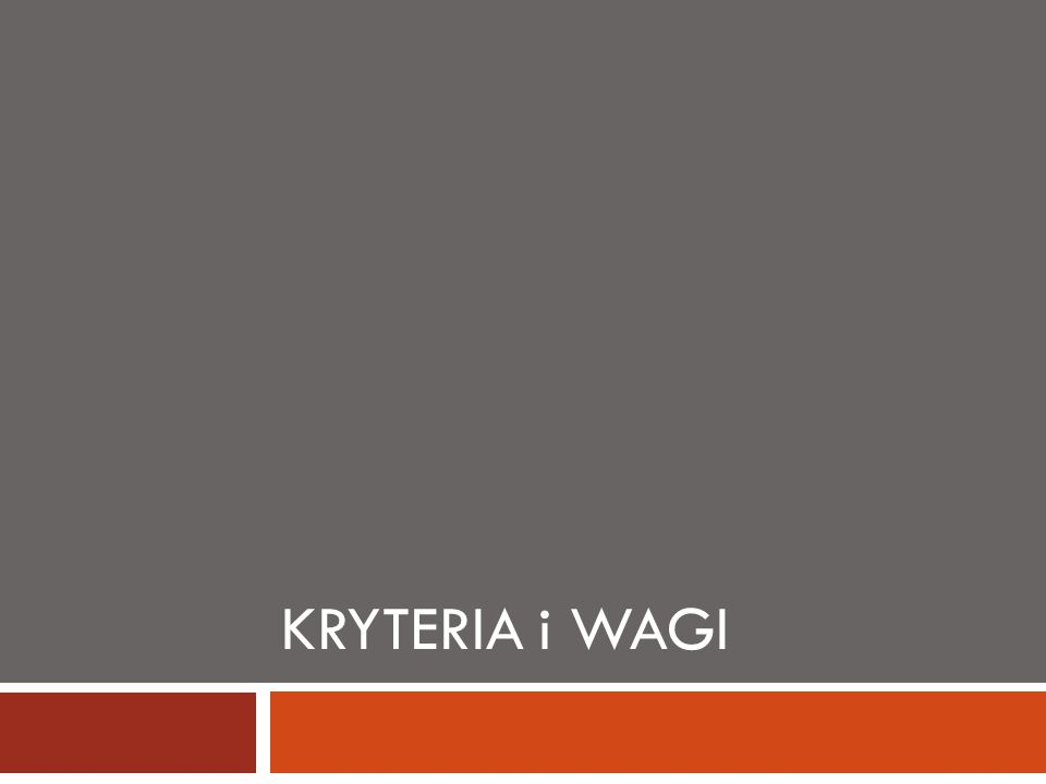 Kryteria i Wagi
