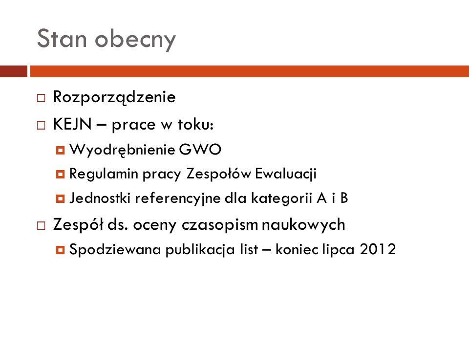 Stan obecny Rozporządzenie KEJN – prace w toku: