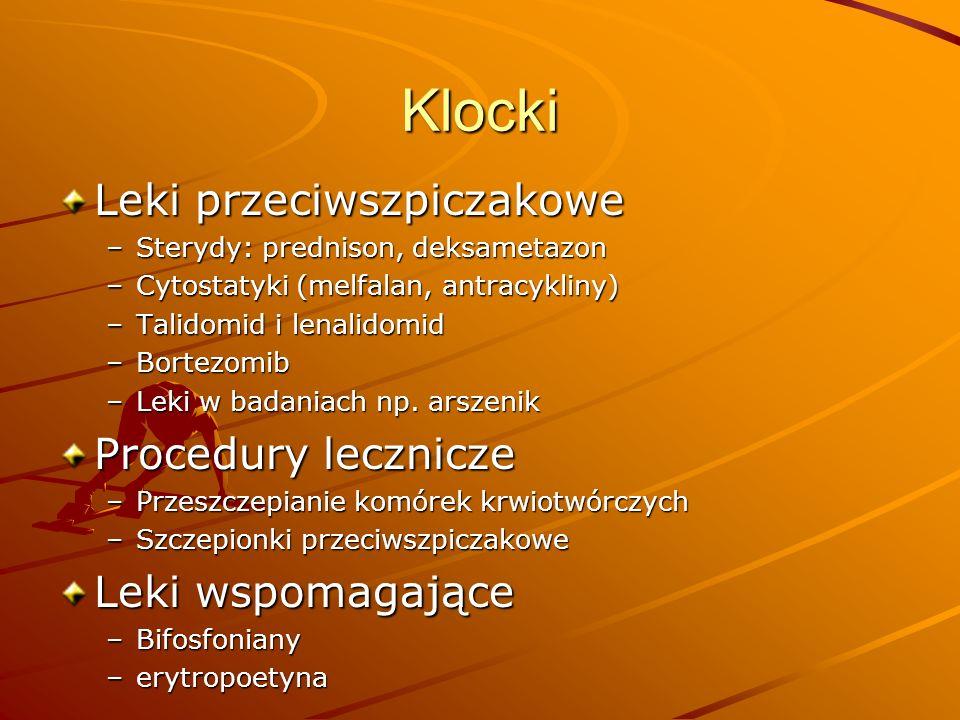 Klocki Leki przeciwszpiczakowe Procedury lecznicze Leki wspomagające