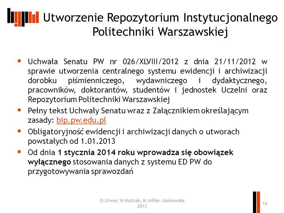 Utworzenie Repozytorium Instytucjonalnego Politechniki Warszawskiej
