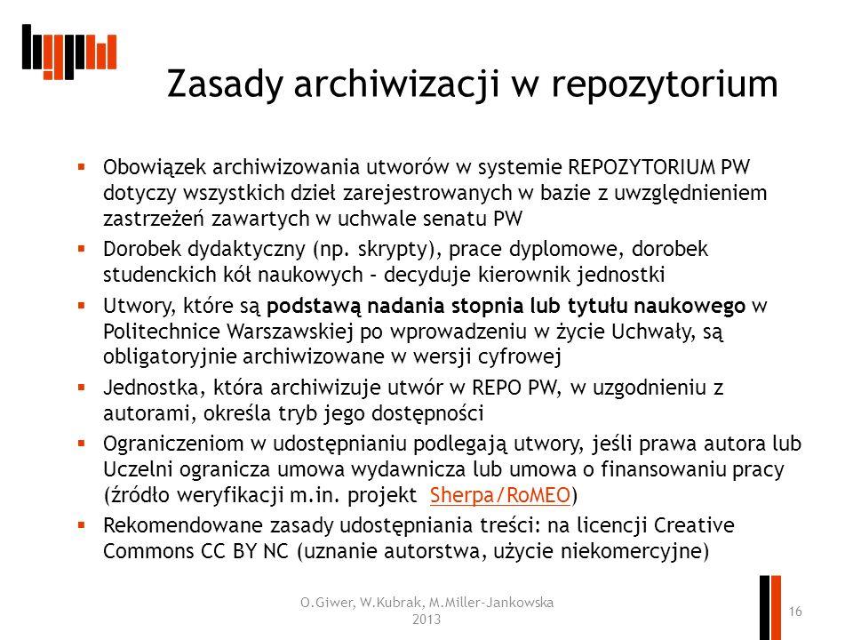 Zasady archiwizacji w repozytorium