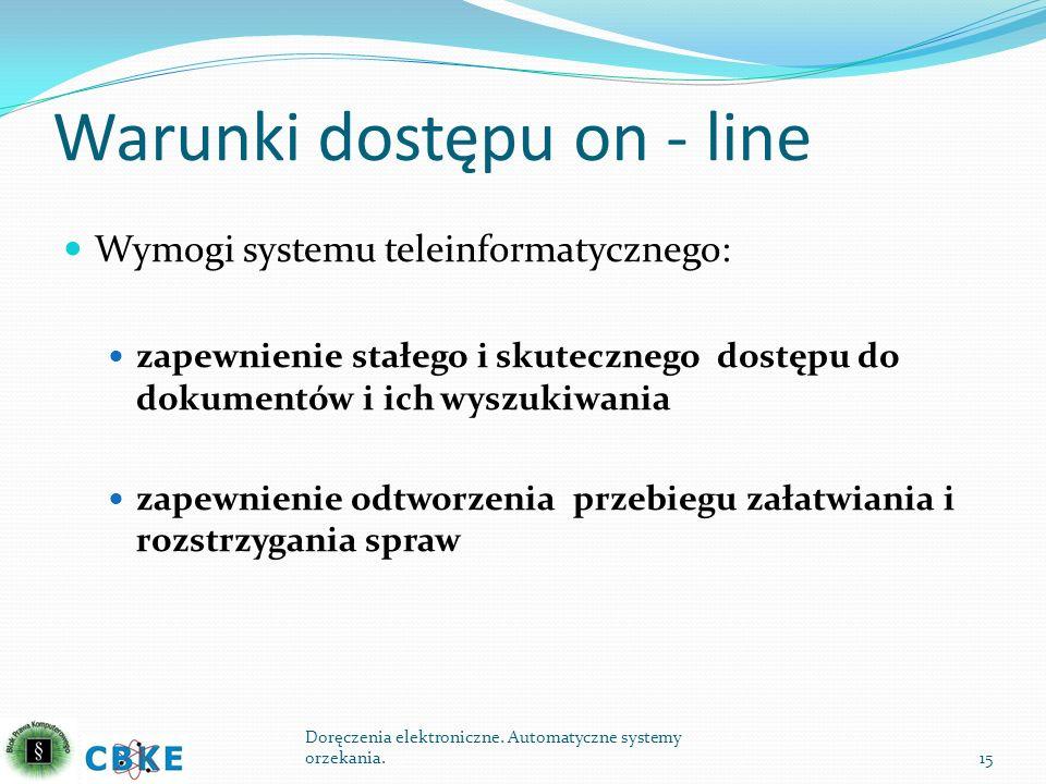 Warunki dostępu on - line