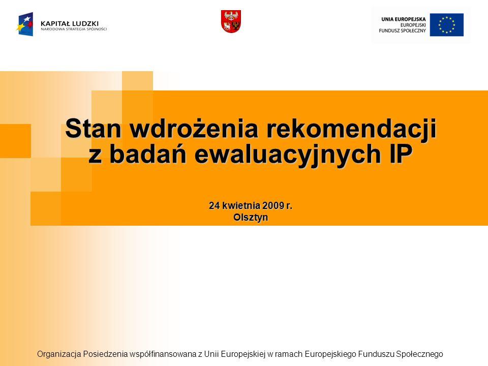 Stan wdrożenia rekomendacji z badań ewaluacyjnych IP