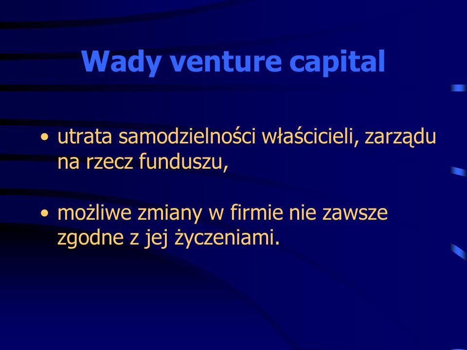 Wady venture capital utrata samodzielności właścicieli, zarządu na rzecz funduszu, możliwe zmiany w firmie nie zawsze zgodne z jej życzeniami.