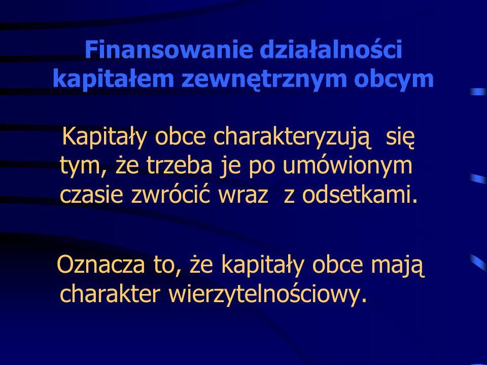 Finansowanie działalności kapitałem zewnętrznym obcym
