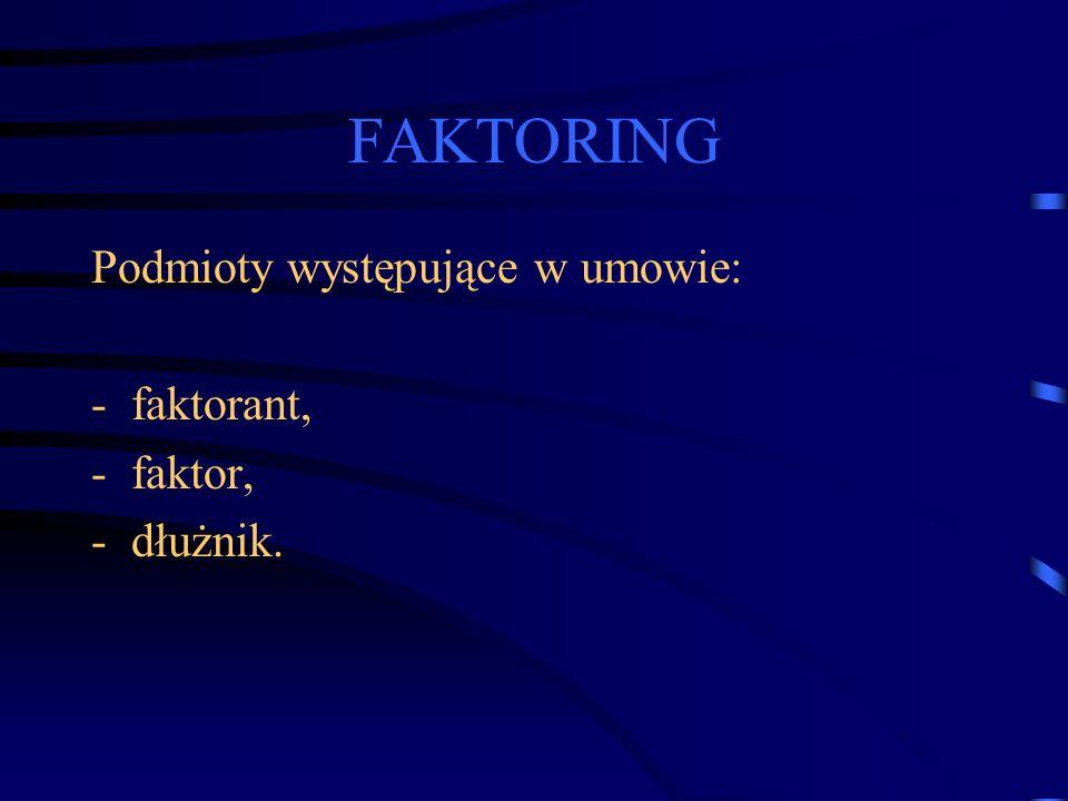 FAKTORING Podmioty występujące w umowie: faktorant, faktor, dłużnik.
